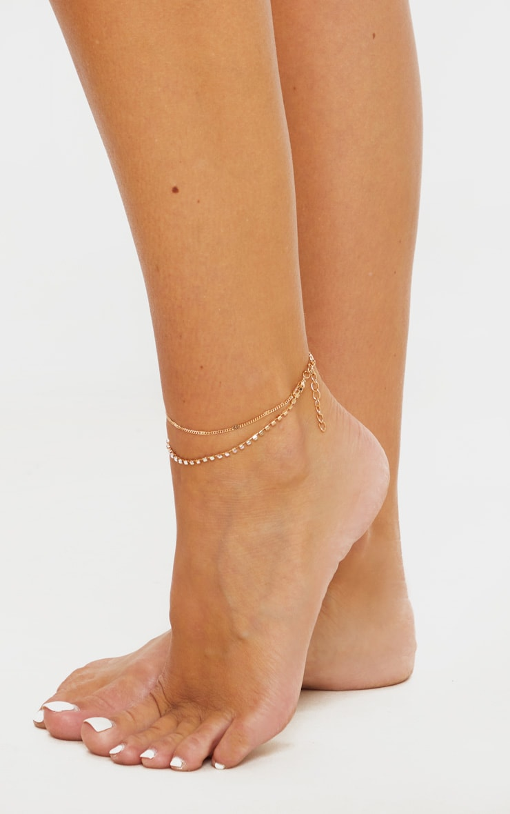 Gold Diamante Double Chain Anklet 1