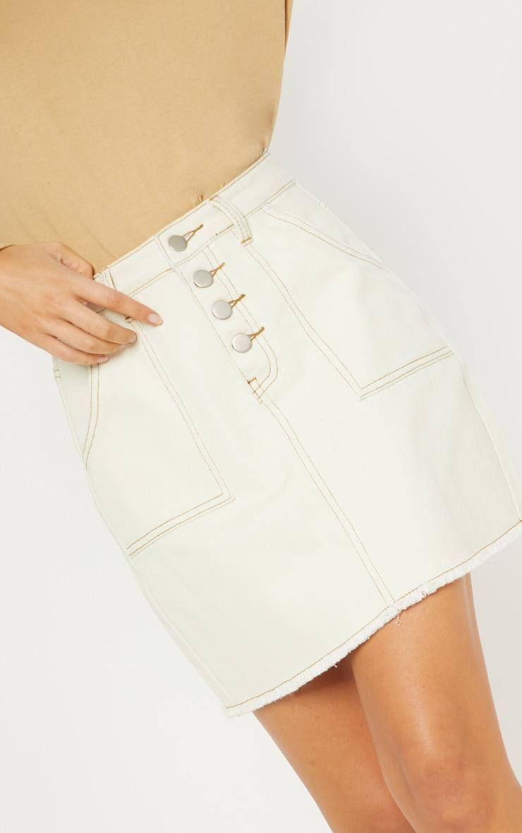 Sand Button Front Contrast Stitch Denim Skirt 6