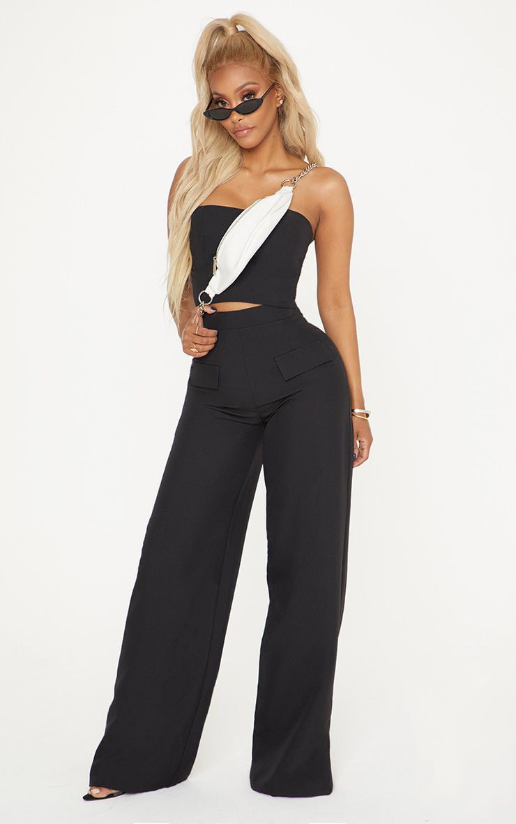 Shape Black Cargo Wide Leg Trouser 1