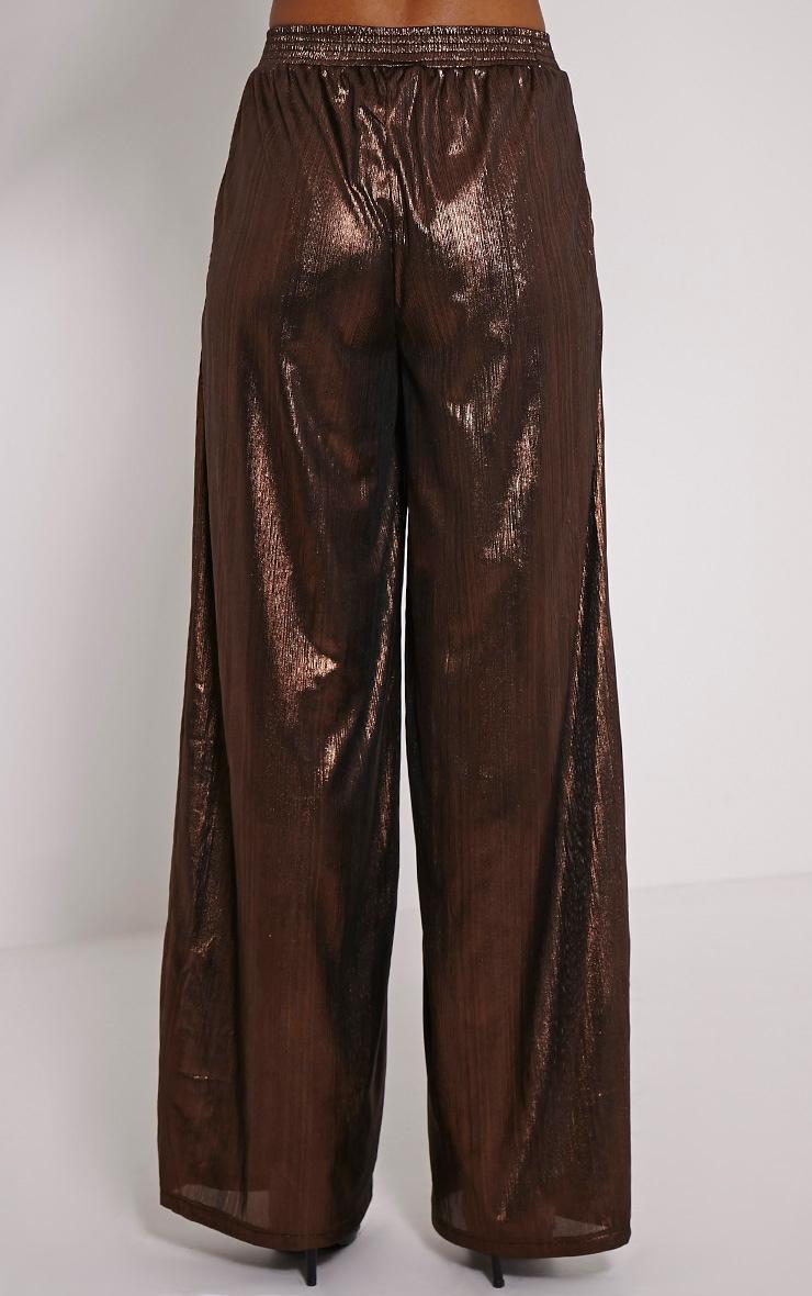 Dana Bronze Metallic Wide Leg Trousers 4