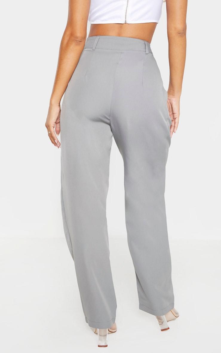Grey Woven High Waisted Cigarette Leg Pants 4
