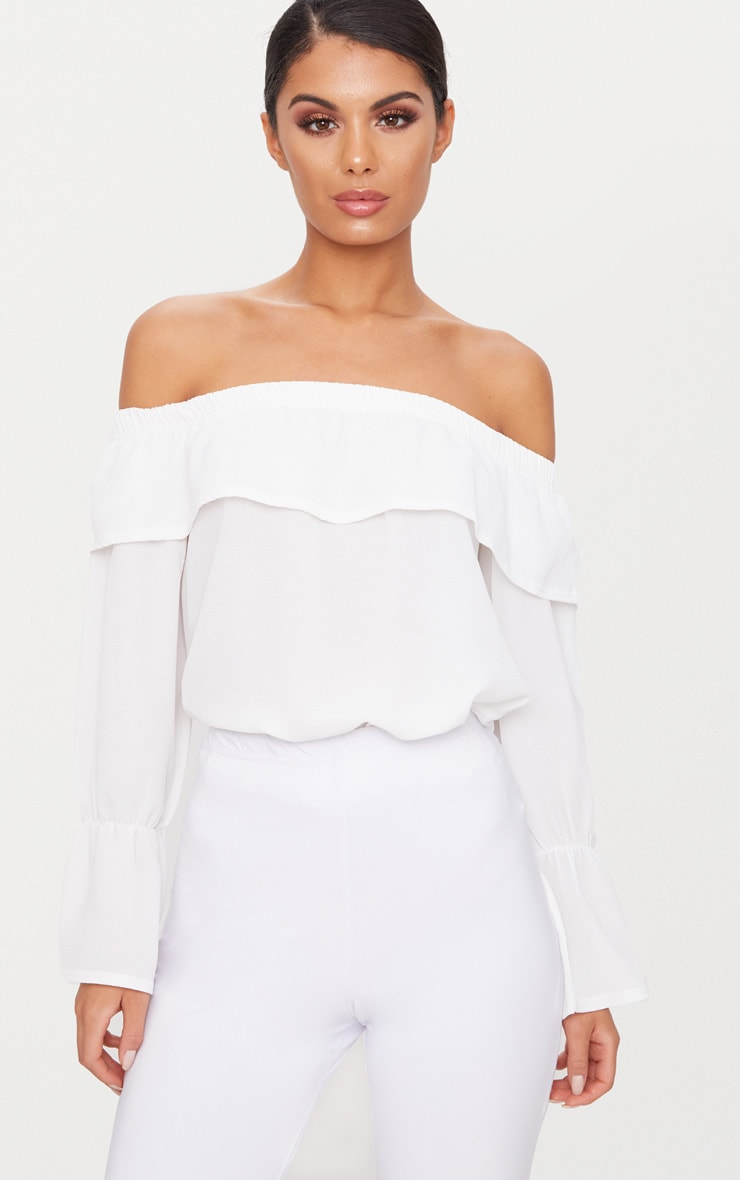White Chiffon Frill Detail Bardot Top  1