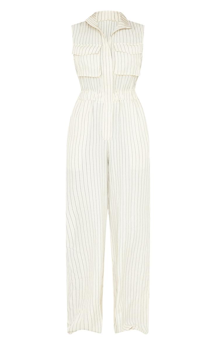 Cream Pinstripe Pocket Detail Sleeveless Zip Jumpsuit 5