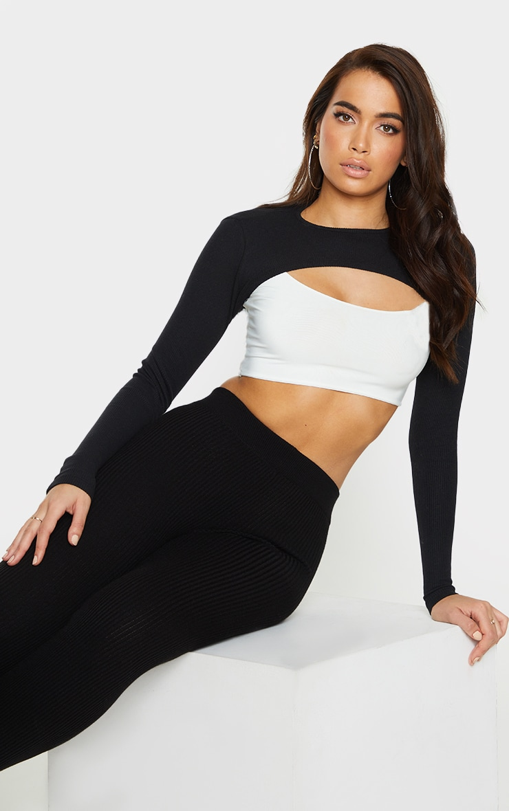 Black Rib Super Crop Top 1
