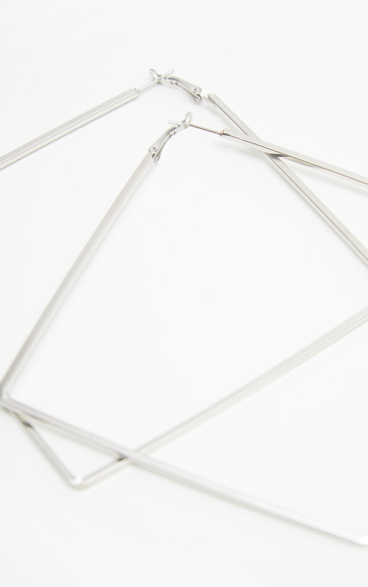 Silver Square Large Hoop Earring 3