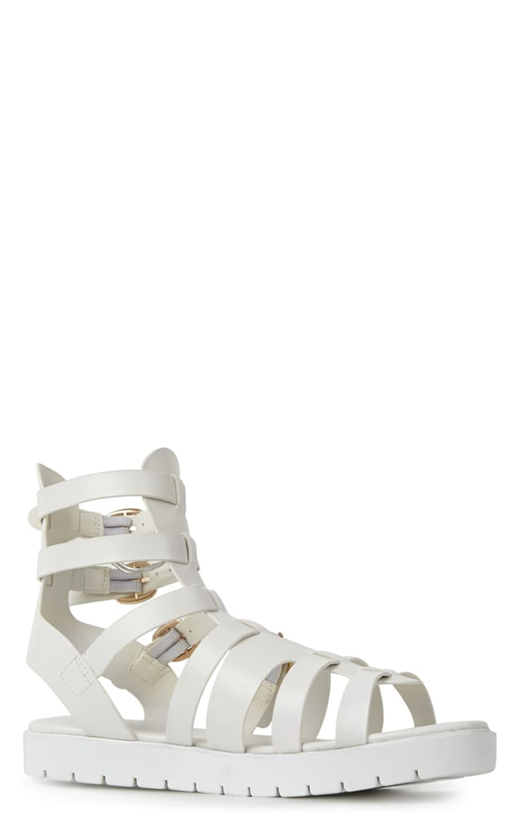 Kinsley White Gladiator Sandals With Cleated Sole  3