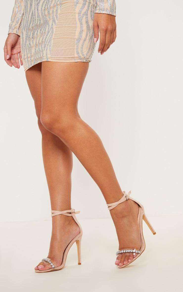 Nude Jewel Trim Clear Strap Sandal