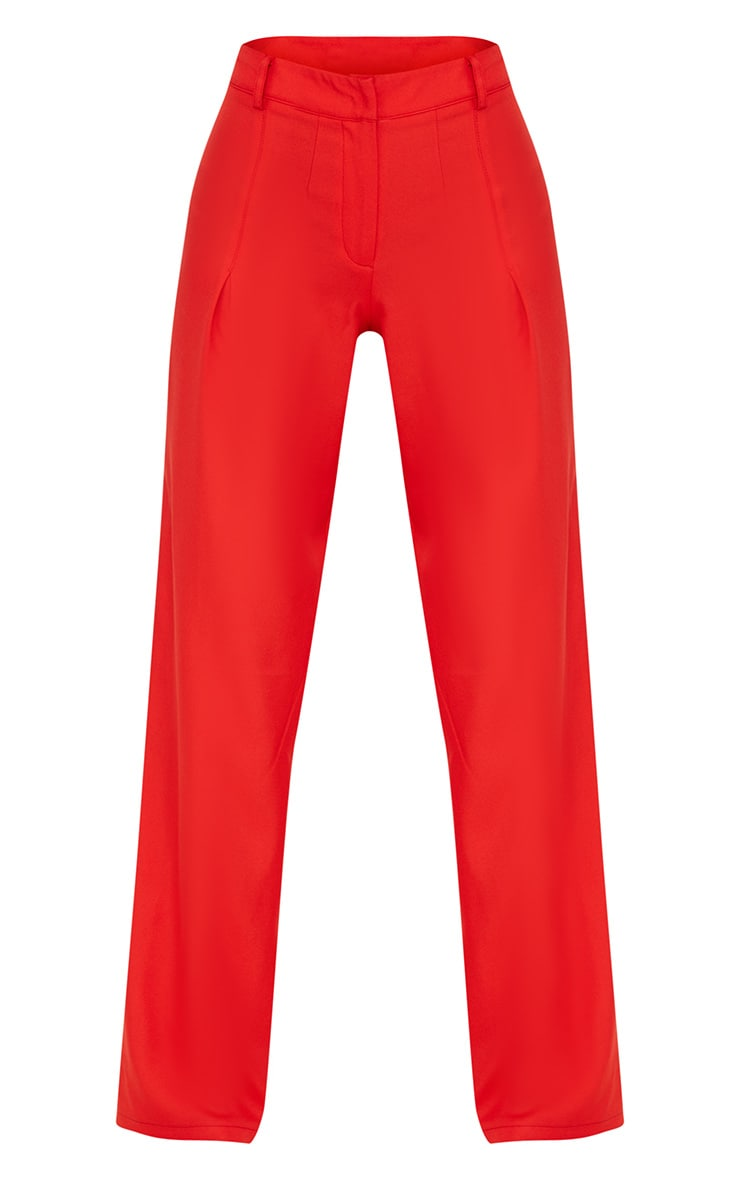 Petite Red Oversized Wide Leg Trousers 3