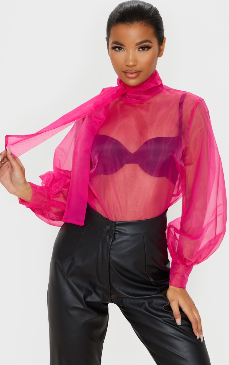 Hot Pink Sheer Organza Pussy Bow Puff Sleeve Blouse 1