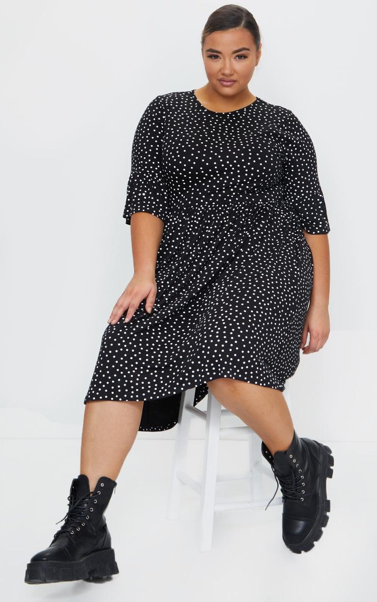 Plus Black Polka Dot Frill Sleeve Midi Smock Dress 1