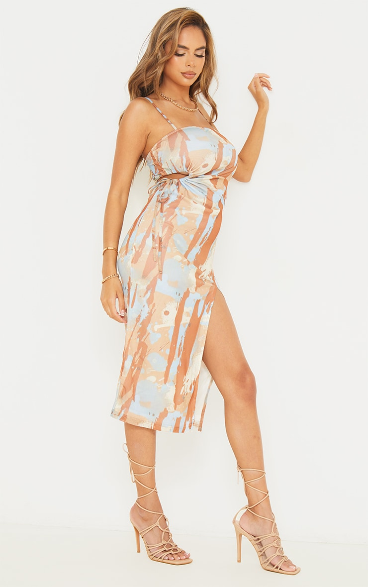 Multi Abstract Print Mesh Strappy Waist Cut Out Midaxi Dress 1