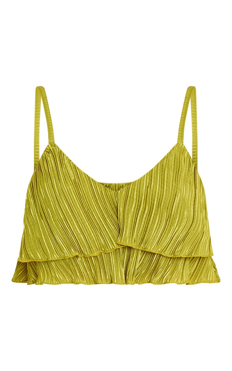 Lalla Lime Pleated Ruffle Cami Crop Top 3