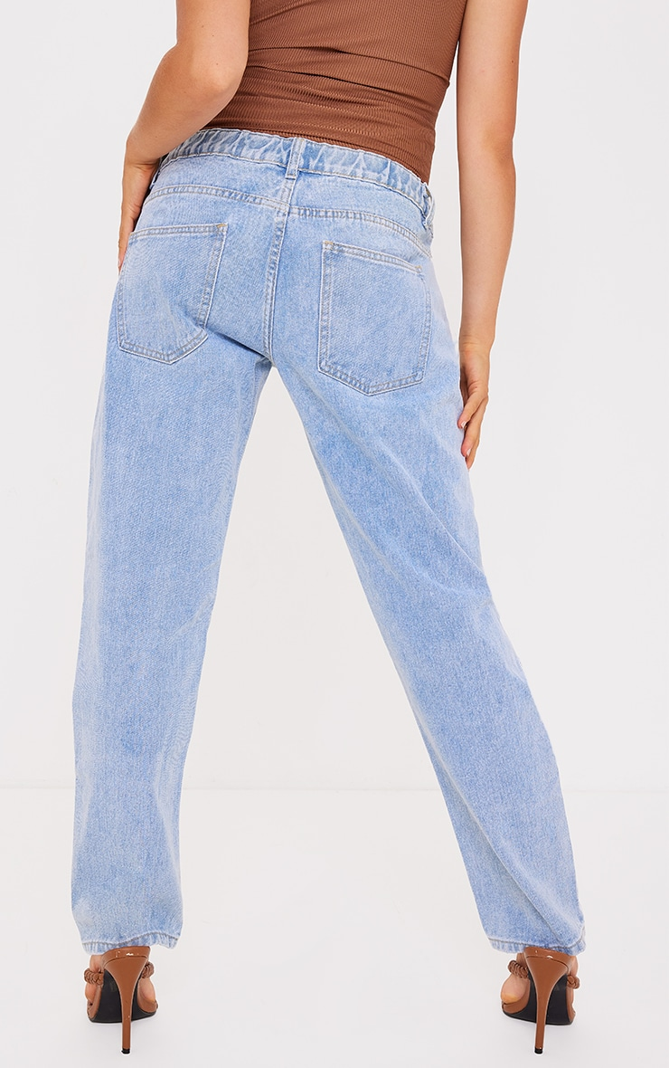 Maternity Light Blue Ripped Knee Mom Jeans 3