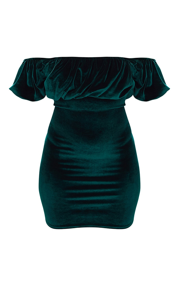 Emerald Green Velvet Ruffle Top Bardot Bodycon Dress 3