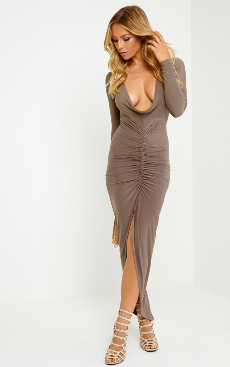 Ellie Mocha Slinky Ruched Maxi Dress 4