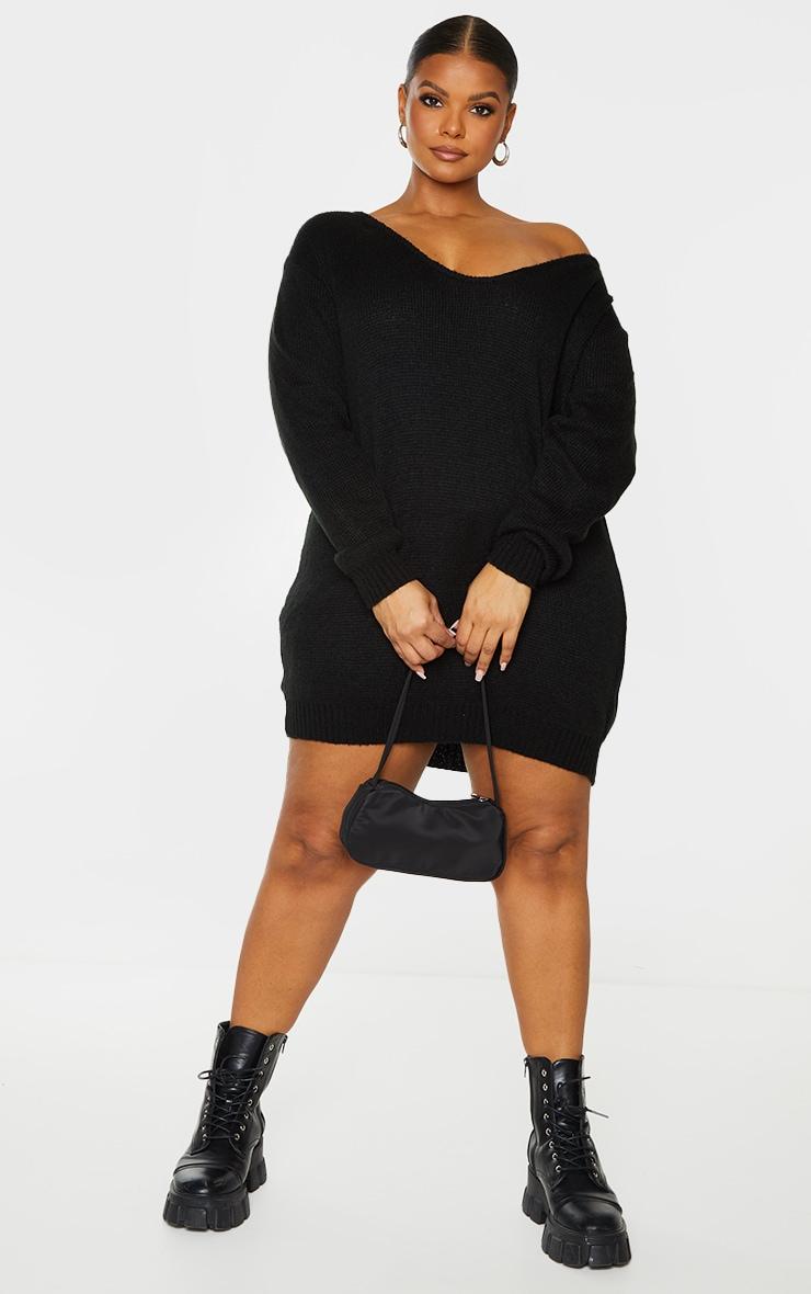 Plus Black Soft Knitted Off Shoulder Mini Dress 3