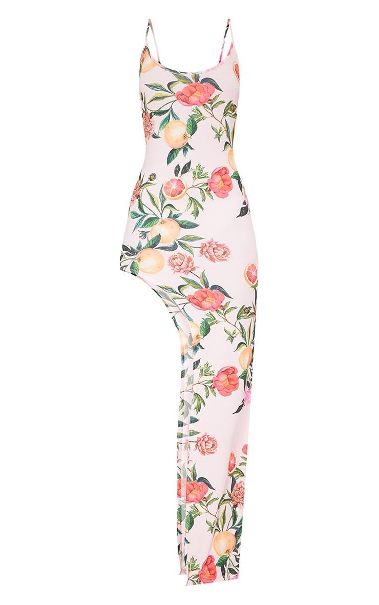 Pink Strappy Fruit Print Asymmetric Dress 3