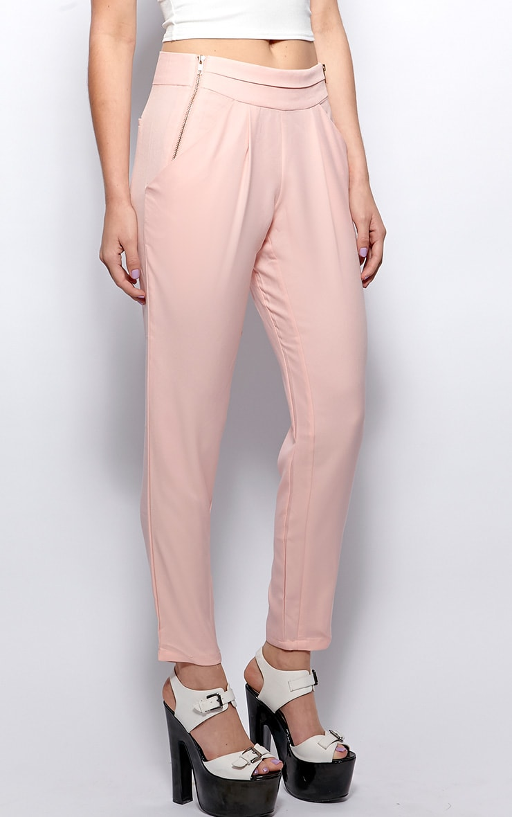 Breanna Pink Tailored Linen Trousers 4