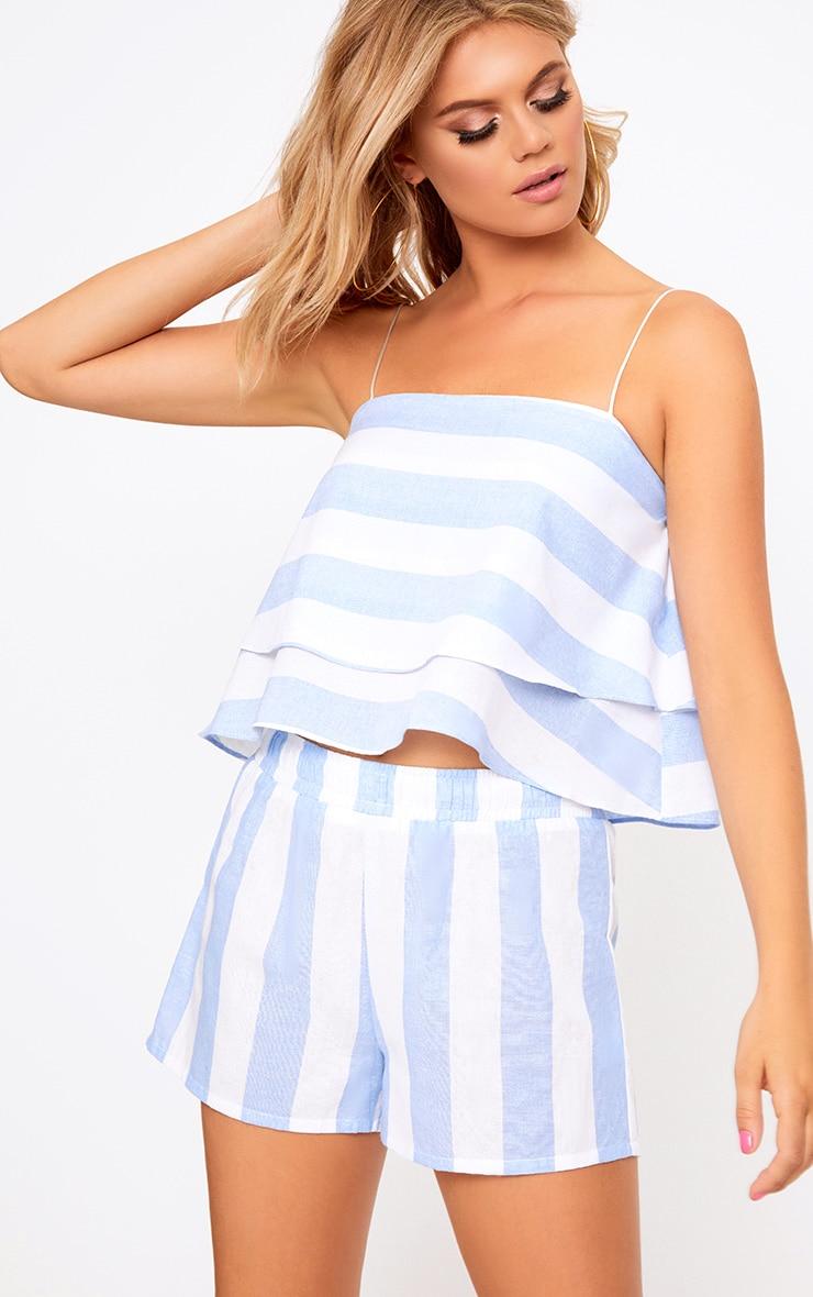 Baby Blue Bold Stripe Beach Shorts 1
