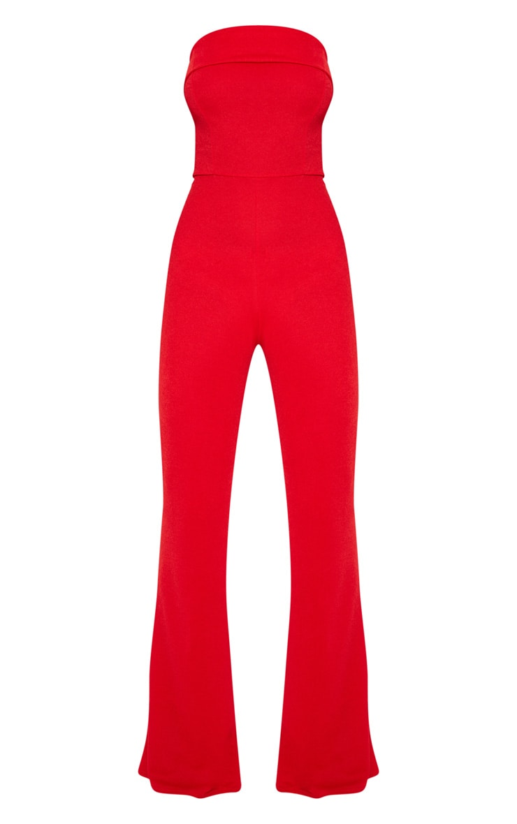 Red Bandeau Fold Detail Jumpsuit 3