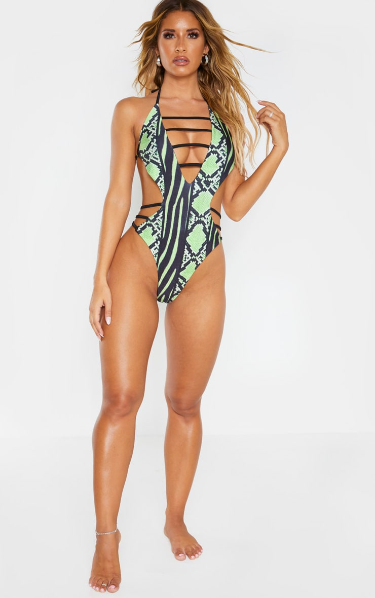 Lime Snake Print Strap Detail Plunge Swimsuit 6