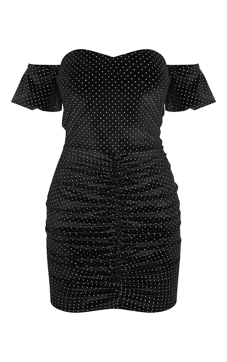 Black Studded Bardot Ruched Bodycon Dress 3