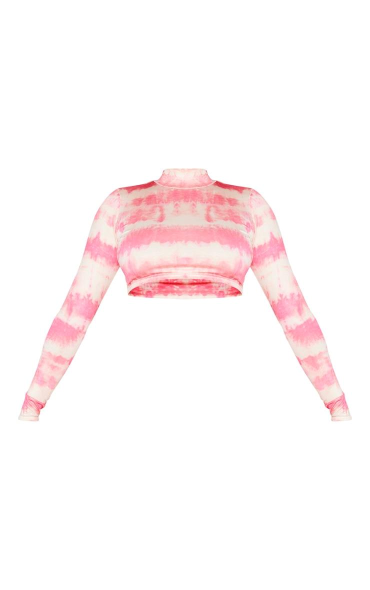 Coral Tie Dye Print Slinky High Neck Crop Top 5