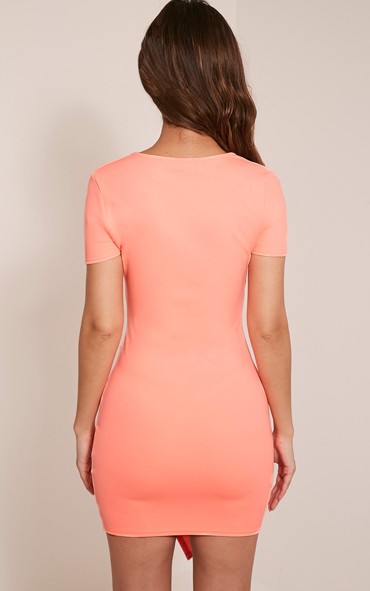 Amarnie Neon Coral Capped Sleeve Crepe Bodycon Dress 2