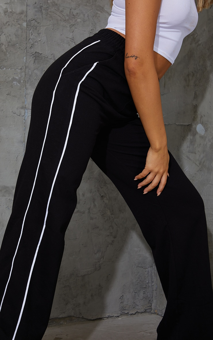 Black Piping Detail Wide Leg Joggers 4