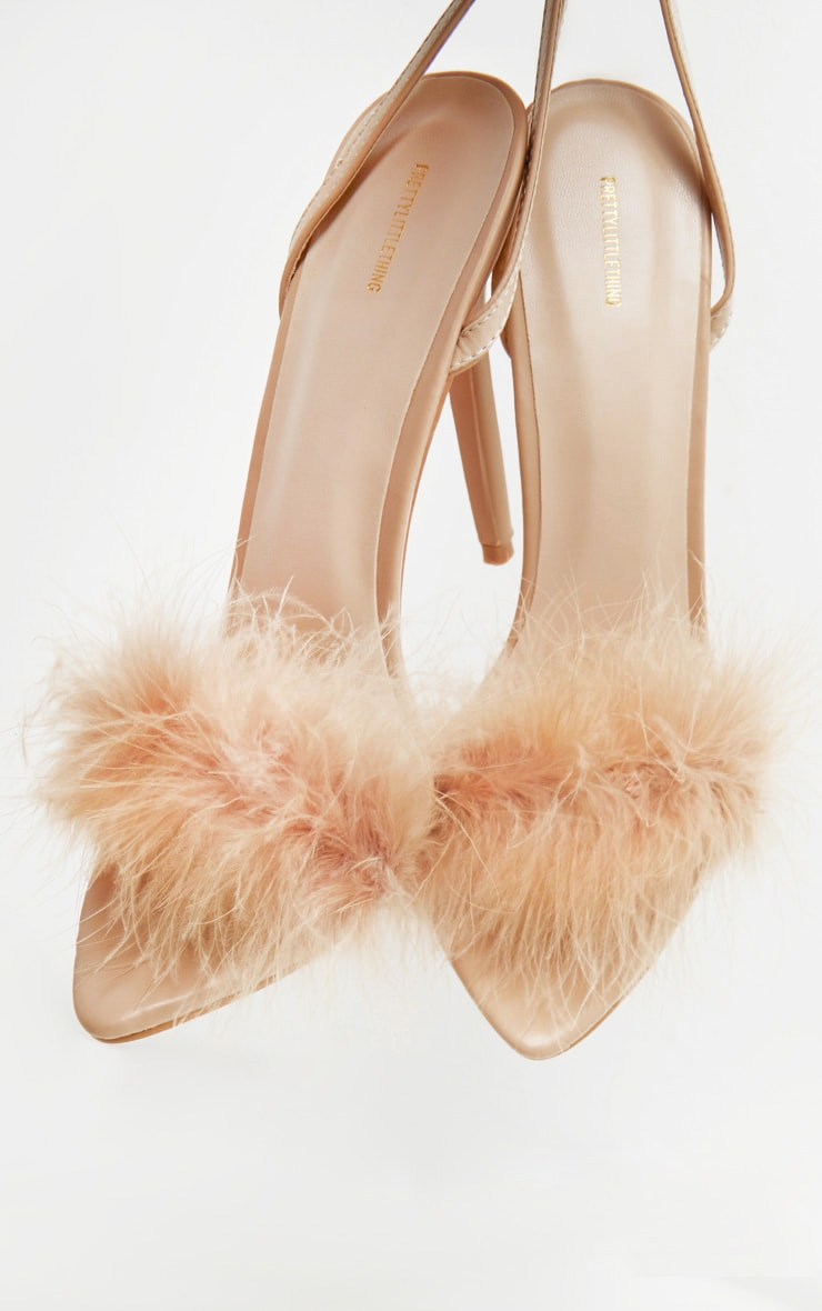 Nude Feather Strap Heeled Sandal 4