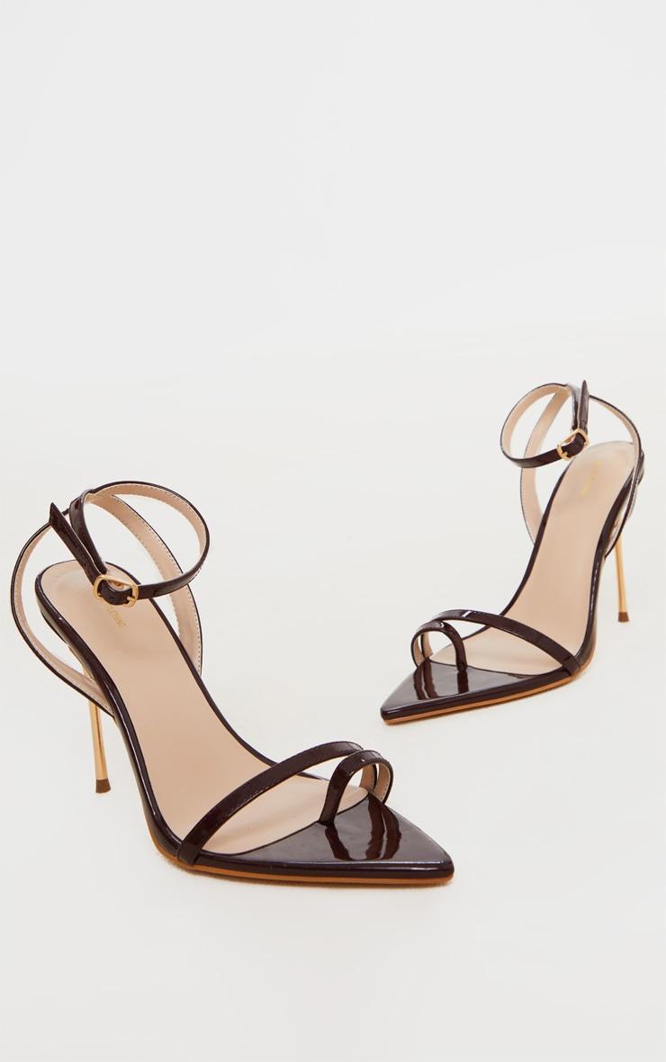 Chocolate Pin Heel Toe Loop Ankle Strap Point Sandal 3