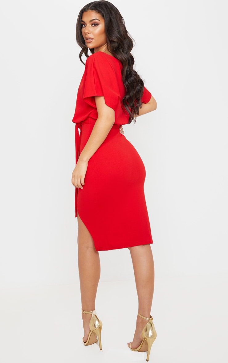 Red Wrap Front Kimono Sleeve Midi Dress 2