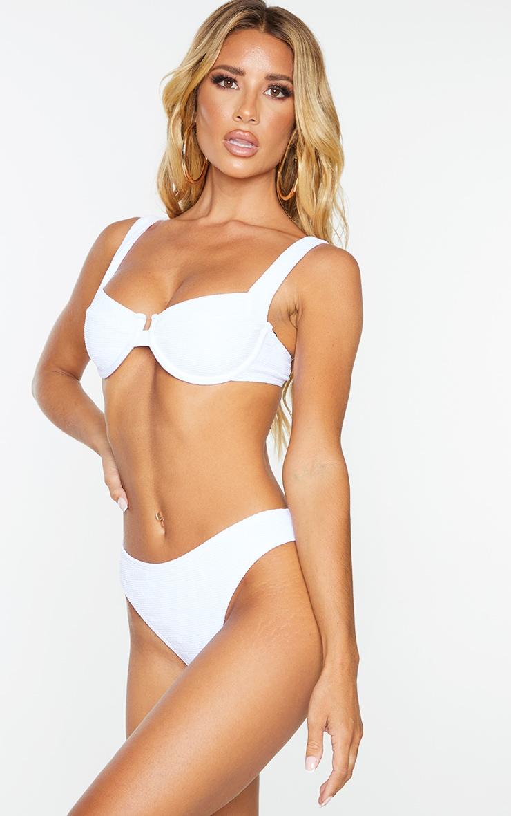 White Mini Crinkle Cheeky Bum Bikini Bottoms 2