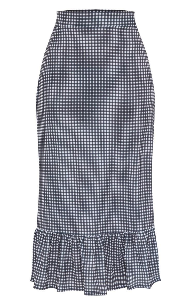 Black Gingham Frill Hem Midaxi Skirt 5