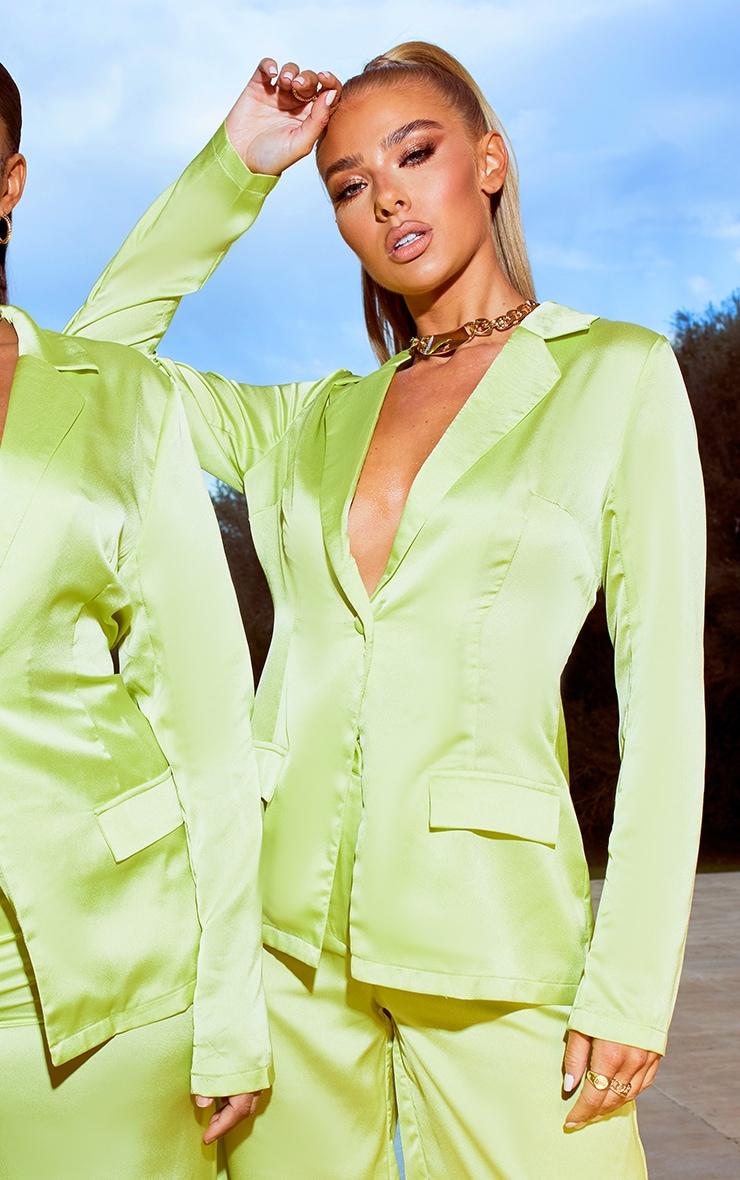 Lime Satin Tailored Blazer 3