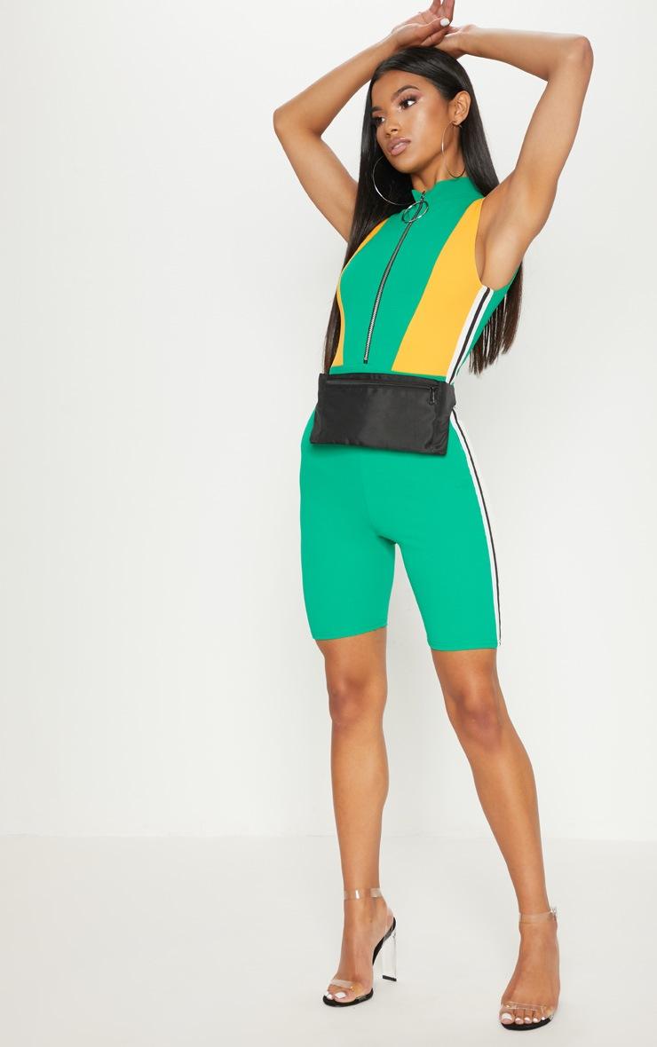 Green Sports Trim Zip Unitard 4