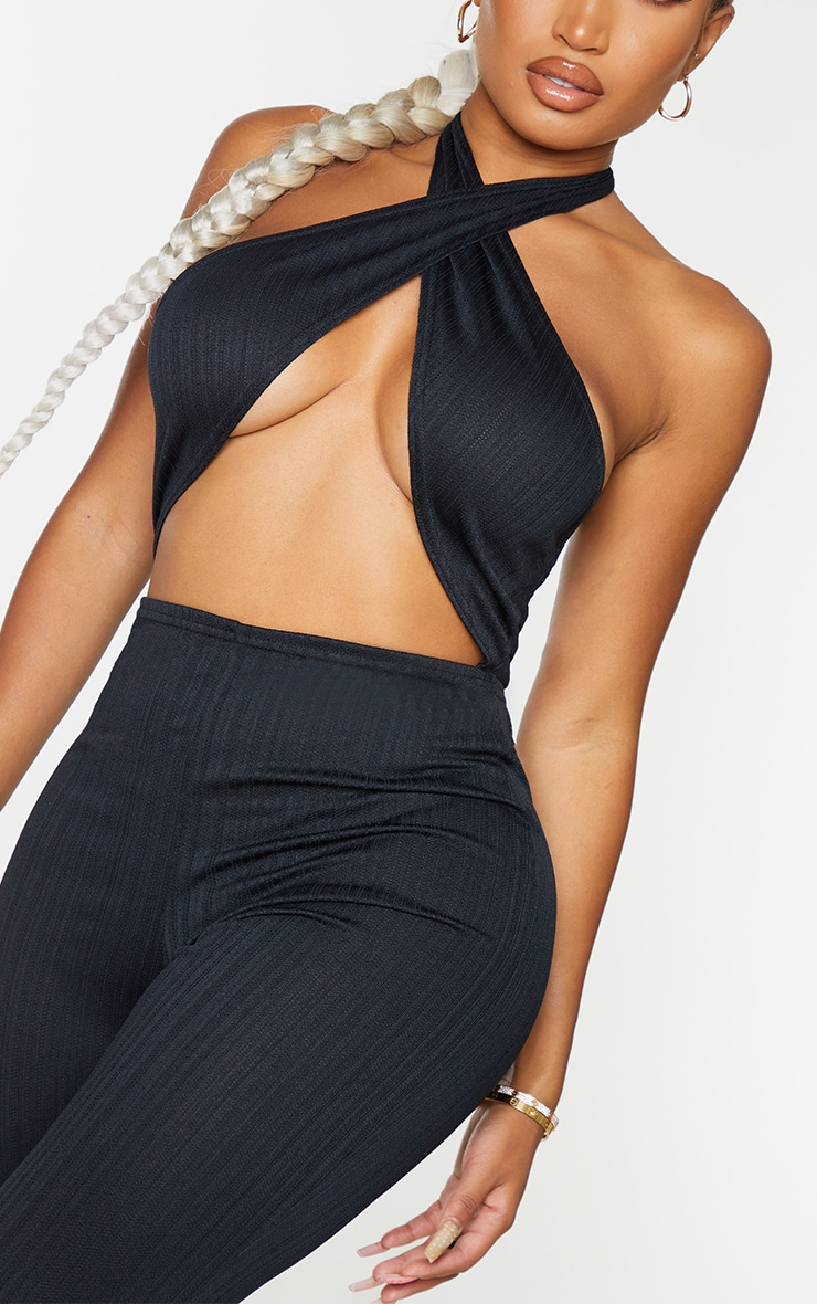 Shape Black Textured Rib Wrap Neck Wide Leg Jumpsuit 4