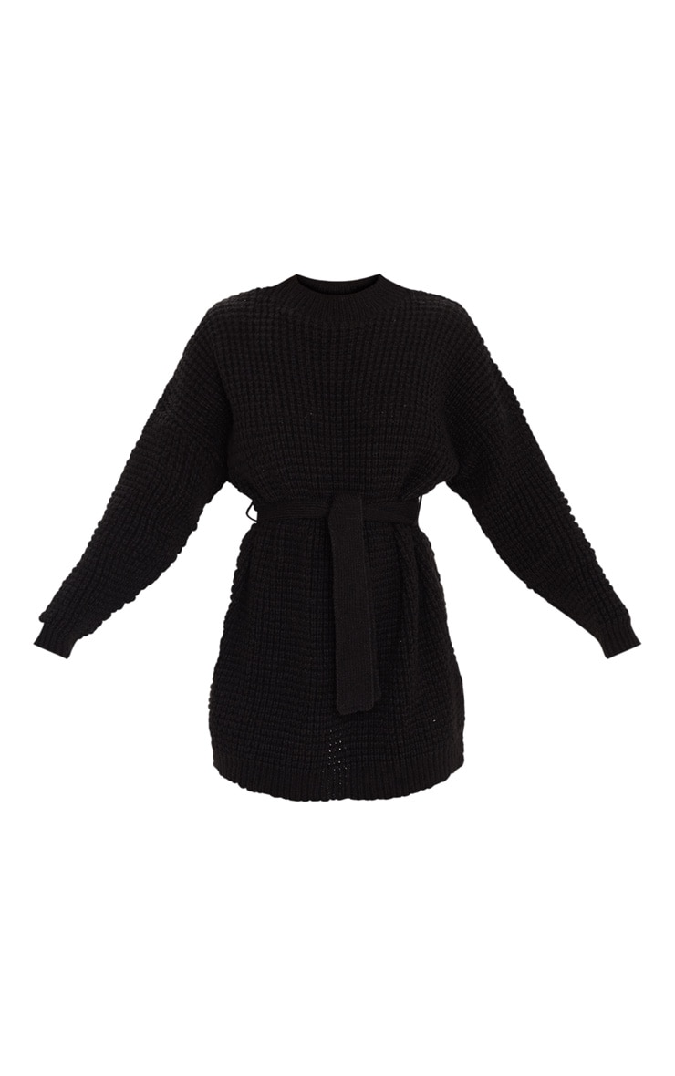 Black Soft Touch Belted Knitted Sweater Dress 3