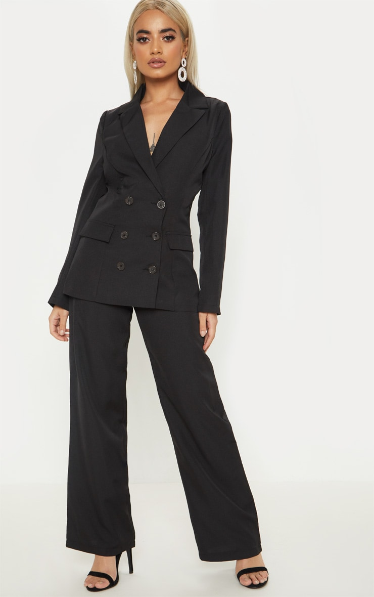 Petite Black Oversized  Button Detail Blazer 4
