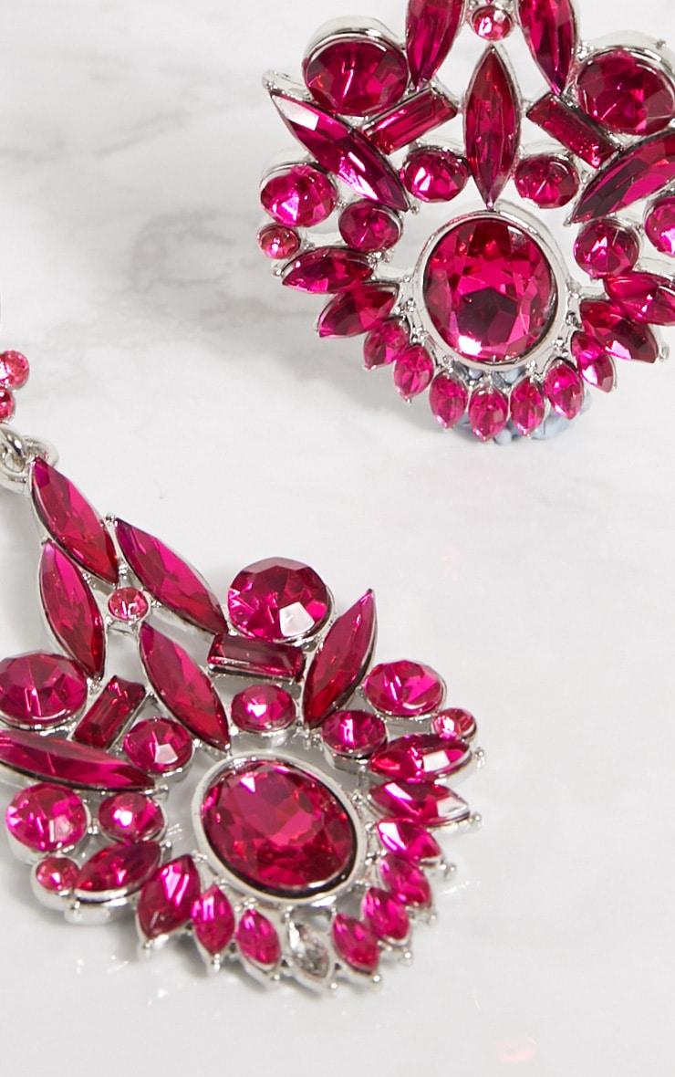Bright Pink Diamante Detail Drop Earrings 4
