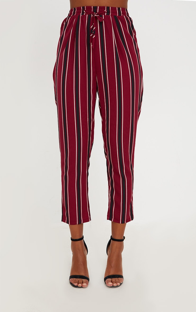 Burgundy Multi Stripe Casual Trousers 2