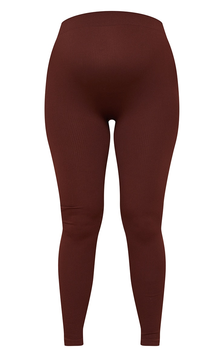 Maternity Dark Brown Contour Bump Support Ribbed Leggings 5