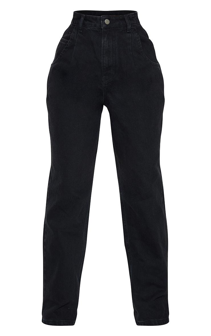 Petite Washed Black Seam Detail Wide Leg Jeans 5