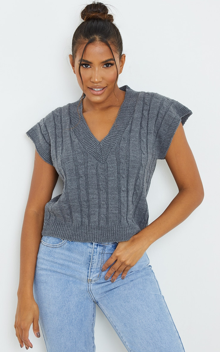 Charcoal Sleeveless Cable Knitted Top 1