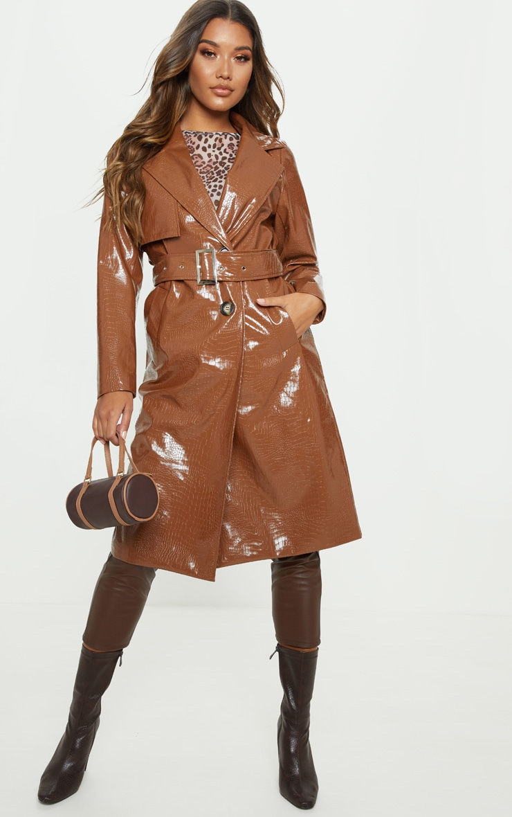 Tan Croc PU Trench 4