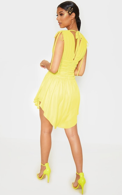 Yellow Plunge Ruched Waist Asymmetric Hem Shift Dress