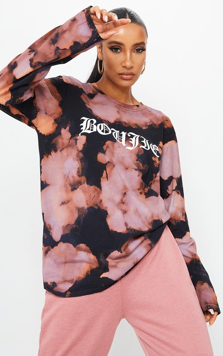 Purple Acid Wash Boujie Printed Long Sleeve T Shirt 1