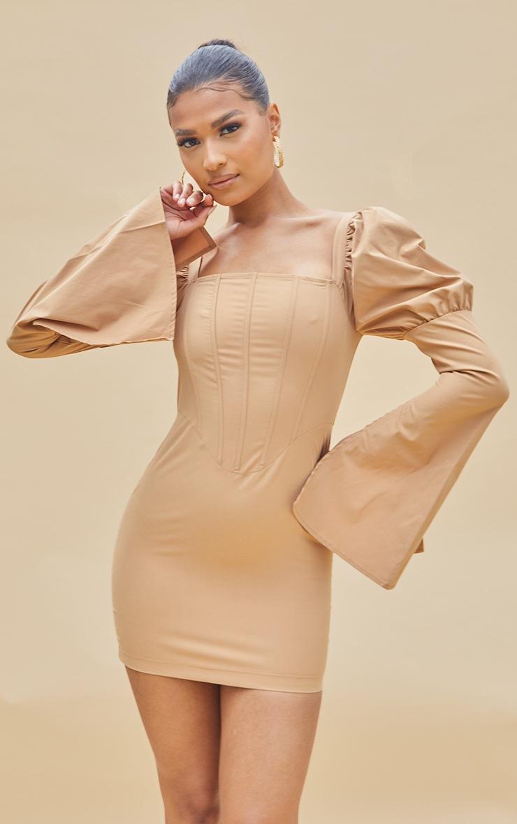 Nude Bell Sleeve Corset Detail Long Sleeve Bodycon Dress 3