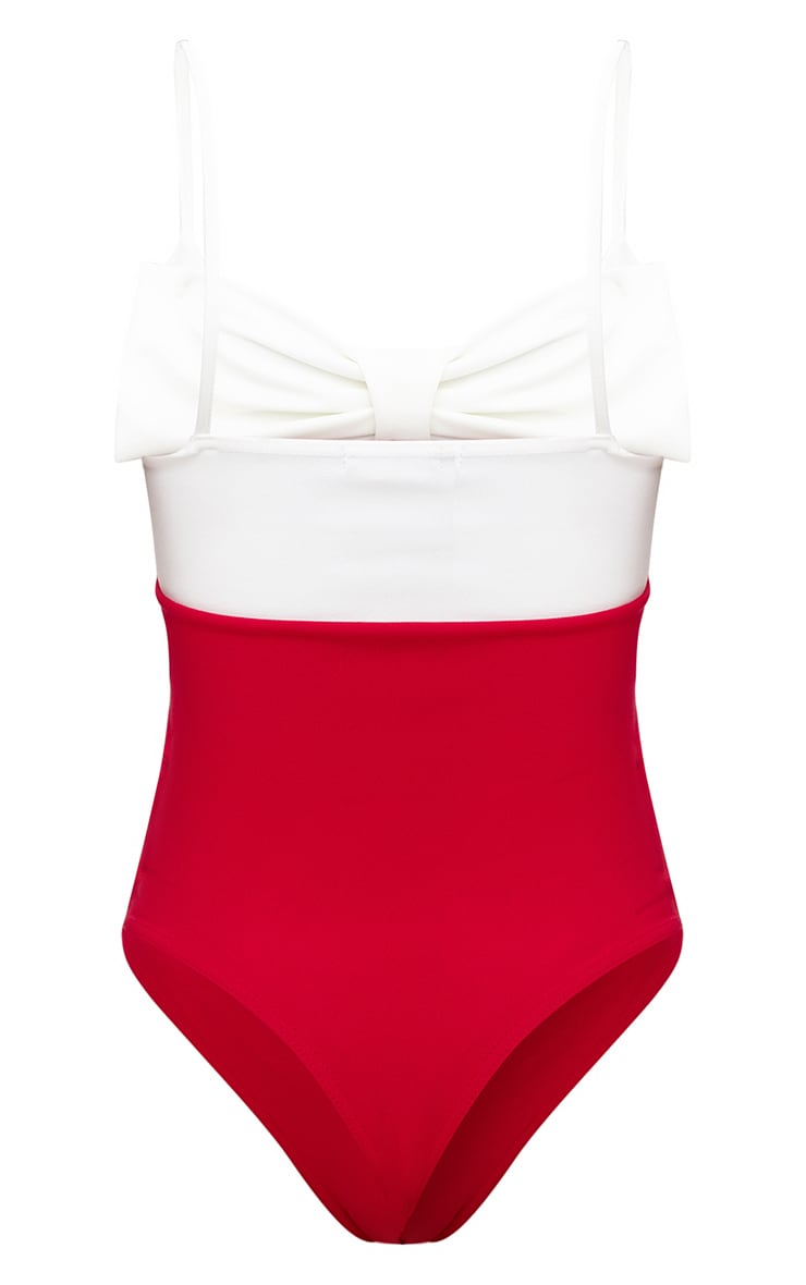 Red Bow Front Thong Bodysuit 4
