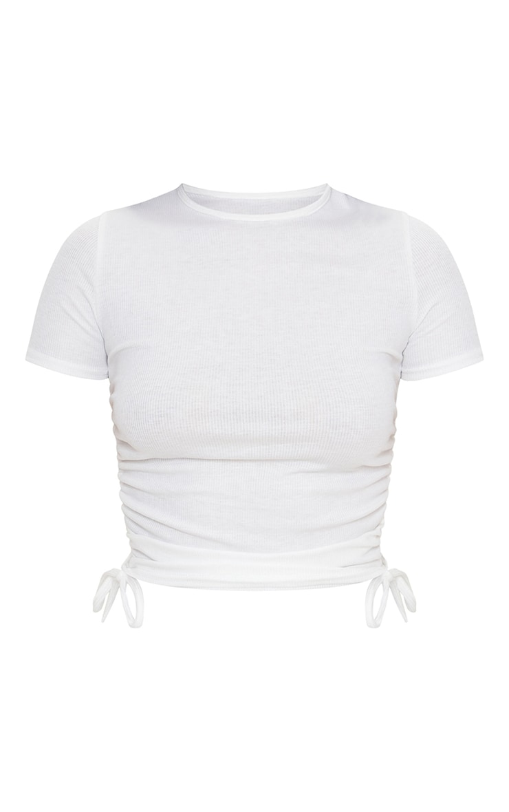 White Rib Ruched Side Short Sleeve Top 5